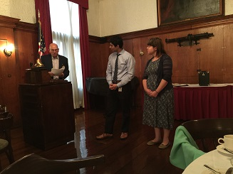 Some of our newest members Eliza Sayward and Dr. Rohan Bhojwani are inducted into the club